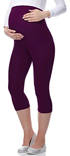 Be Mammy 3/4 Umstandsleggings aus Viskose BE-03 (Pflaume, M) von Be Mammy