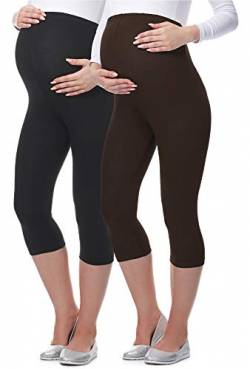Be Mammy 3/4 Umstandsleggings aus Viskose BE-03 2er Pack (Schwarz/Braun, L) von Be Mammy