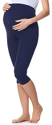 Be Mammy 3/4 Umstandsleggings aus Baumwolle BE20-229 (Marine, XXL) von Be Mammy