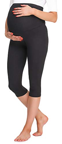 Be Mammy Damen 3/4 Umstandsleggings BE20-258(Schwarz, M) von Be Mammy