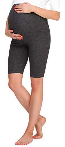 Be Mammy Damen Kurze Umstandsleggings BE20-259(Dunkelmelange, S) von Be Mammy