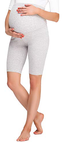 Be Mammy Damen Kurze Umstandsleggings BE20-259(Melange, XXL) von Be Mammy