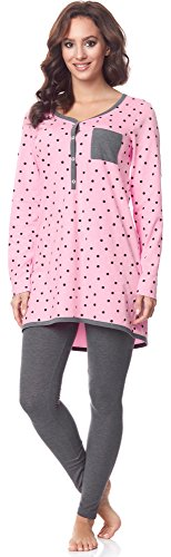 Be Mammy Damen Langarm Pyjama mit Stillfunktion BE20-178, Rosa-Punkten-Grau, XL(Rosa-Punkten-Grau, XL) von Be Mammy