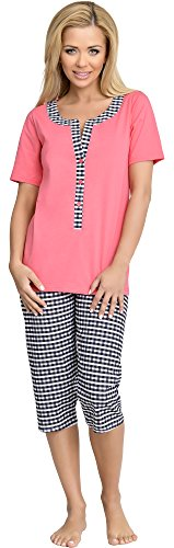 Be Mammy Damen Schlafanzug Stillpyjama H2L2N2 (Coral-1, L) von Be Mammy