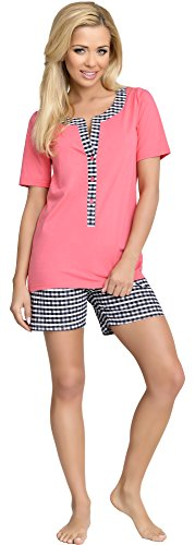 Be Mammy Damen Schlafanzug Stillpyjama J5ST3N2 (Coral-1, M) von Be Mammy