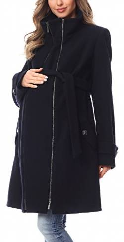 Be Mammy Damen Umstandsmantel Wolle Wintermantel BE20-225 (Dunkelblau, 42) von Be Mammy