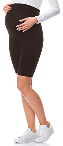 Be Mammy Kurze Umstandsleggings aus Viskose BE-04 (Braun, M) von Be Mammy
