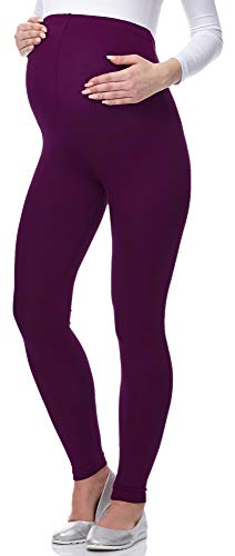 Be Mammy Lange Umstandsleggings aus Viskose BE-02 (Pflaume, M) von Be Mammy