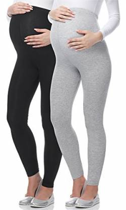 Be Mammy Lange Umstandsleggings aus Viskose BE-02 2er Pack (Schwarz/Melange, XL) von Be Mammy