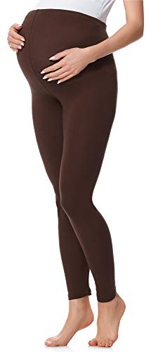 Be Mammy Lange Umstandsleggings aus Baumwolle BE20-230 (Braun, XL) von Be Mammy