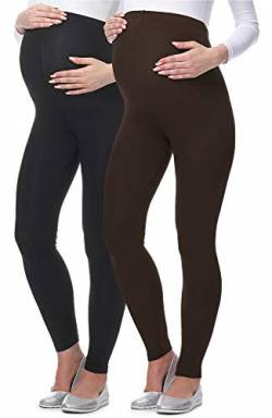 Be Mammy Lange Umstandsleggings aus Viskose BE-02 2er Pack (Schwarz/Braun, S) von Be Mammy