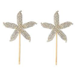 Beaupretty 2 Stück Strass Haarspangen Sea Star Haarnadel Glänzende Haarspangen Haar Alligator Clip Birdal Girls Haarschmuck (Golden) von Beaupretty