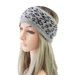 Beaupretty Frauen imitiert Nerz Wolle Stirnband Leopardenmuster Haarband verdicken gestrickte Headwrap Winter warme Kopfbedeckungen für Frauen Mädchen (grau) von Beaupretty