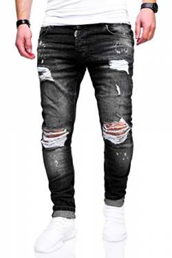 behype. Herren Destroyed Stretch Jeans-Hose Used Slim-Fit 80-2369 Schwarz W29/L32 von behype.