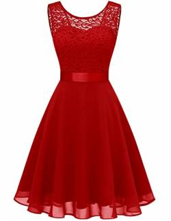 BeryLove Women Short Floral Lace Bridesmaid Dress Vintage Cocktail Party Swing Dress BLP7005RedXS von BeryLove