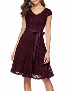 BeryLove Damen V-Ausschnitt Kurz Brautjungfer Kleid Cocktail Party Floral Kleid BLP7006Burgundy3XL von BeryLove
