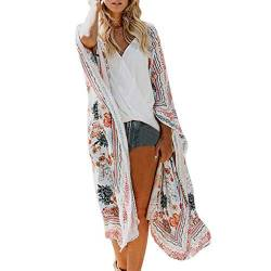 Damen Blumendruck Chiffon Kimono Cardigan Top Lose Schal Bikini Cover up Strandponcho Vintage Vertuschen Bluse Elegant von Bikini Cover Up Dasongff