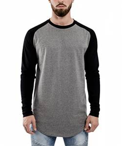 Blackskies Baseball Longsleeve T-Shirt | Langes Oversize Fashion Basic Langarm Raglan Herren Longshirt Long Tee Melliert - Grau-Schwarz X-Large XL von Blackskies