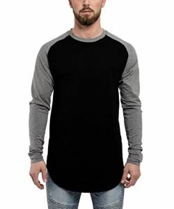 Blackskies Baseball Longsleeve T-Shirt | Langes Oversize Fashion Basic Langarm Raglan Herren Longshirt Long Tee Melliert - Schwarz Grau X-Large XL von Blackskies