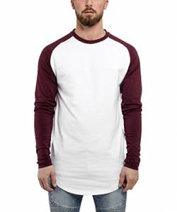 Blackskies Baseball Longsleeve T-Shirt | Langes Oversize Fashion Basic Langarm Raglan Herren Longshirt Long Tee Melliert - Weiß-Burgundy Small S von Blackskies