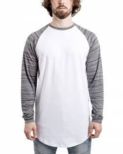 Blackskies Baseball Longsleeve T-Shirt | Langes Oversize Fashion Basic Langarm Raglan Herren Longshirt Long Tee Melliert - Weiß-Dunkelblau Small S von Blackskies