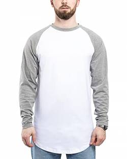 Blackskies Baseball Longsleeve T-Shirt | Langes Oversize Fashion Basic Langarm Raglan Herren Longshirt Long Tee - Weiß-Grau Large L von Blackskies