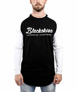 Blackskies Clouds Baseball T-Shirt Schwarz-Weiß Longsleeve Herren Longshirt Langarm Print BS - Medium M von Blackskies