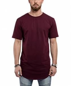 Blackskies Round Basic Longshirt | Langes Oversize Fashion Langarm Herren T-Shirt Long Tee - Burgundy Weinrot Small S von Blackskies