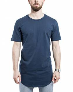 Blackskies Round Basic Longshirt | Langes Oversize Fashion Langarm Herren T-Shirt Long Tee - Blau Large L von Blackskies