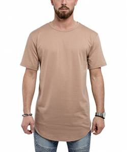 Blackskies Round Basic Longshirt | Langes Oversize Fashion Langarm Herren T-Shirt Long Tee - Desert Beige Small S von Blackskies