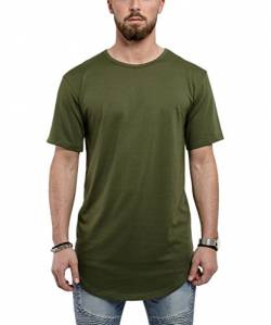Blackskies Round Basic Longshirt | Langes Oversize Fashion Langarm Herren T-Shirt Long Tee - Olive Grün Large L von Blackskies
