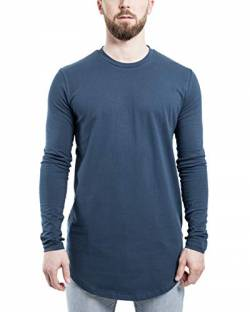 Blackskies Round Longsleeve T-Shirt | Langes Oversize Fashion Basic Langarm Herren Longshirt Long Tee - Blau Large L von Blackskies
