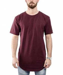 Blackskies Side Zip Basic Longshirt | Langes Oversize Fashion Langarm Herren T-Shirt Long Tee Reißverschluss - Weinrot Burgundy Medium M von Blackskies