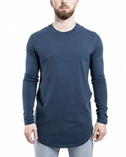 Blackskies Side Zip Langarm T-Shirt | Langes Oversize Fashion Basic Longsleeve Herren Longshirt Long Tee mit Reißverschluss - Blau Medium M von Blackskies