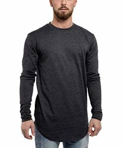 Blackskies Side Zip Langarm T-Shirt | Langes Oversize Fashion Basic Longsleeve Herren Longshirt Long Tee mit Reißverschluss - Charcoal Anthrazit Small S von Blackskies