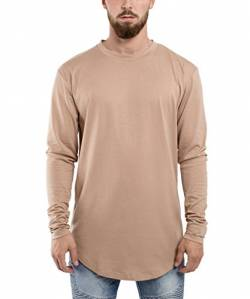 Blackskies Side Zip Langarm T-Shirt | Langes Oversize Fashion Basic Longsleeve Herren Longshirt Long Tee mit Reißverschluss - Desert Beige Large L von Blackskies