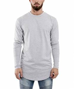 Blackskies Side Zip Langarm T-Shirt | Langes Oversize Fashion Basic Longsleeve Herren Longshirt Long Tee mit Reißverschluss - Grau Small S von Blackskies