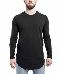 Blackskies Side Zip Langarm T-Shirt | Langes Oversize Fashion Basic Longsleeve Herren Longshirt Long Tee mit Reißverschluss - Schwarz Medium M von Blackskies