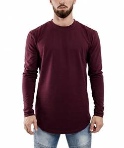 Blackskies Side Zip Langarm T-Shirt | Langes Oversize Fashion Basic Longsleeve Herren Longshirt Long Tee mit Reißverschluss - Weinrot Burgundy Small S von Blackskies