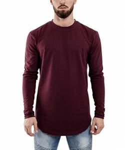 Blackskies Side Zip Langarm T-Shirt | Langes Oversize Fashion Basic Longsleeve Herren Longshirt Long Tee mit Reißverschluss - Weinrot Burgundy X-Large XL von Blackskies