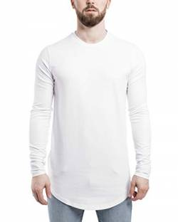 Blackskies Side Zip Langarm T-Shirt | Langes Oversize Fashion Basic Longsleeve Herren Longshirt Long Tee mit Reißverschluss - Weiß Small S von Blackskies