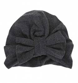 Boomly Baby Turban Hut Stirnband Knoten-Bogen Haarband Wolle Warmer Hut Herbst Winter Kopf Wickeln Cap Für 2-3 jährige Mädchen (Dunkel Grau, 18.5 * 15.5 cm) von Boomly