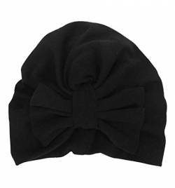 Boomly Baby Turban Hut Stirnband Knoten-Bogen Haarband Wolle Warmer Hut Herbst Winter Kopf Wickeln Cap Für 2-3 jährige Mädchen (Schwarz, 18.5 * 15.5 cm) von Boomly