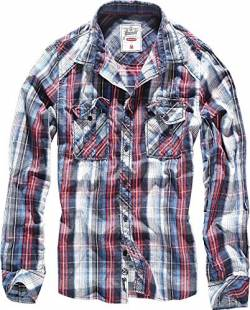 Brandit Central City Check Shirt Vintage Hemd, Navy-white, S von Brandit