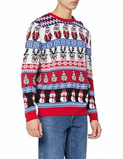 British Christmas Jumpers Herren Comic Family Pack Crazy Mens Christmas Jumper Pullover, Weiß (Red), Large von British Christmas Jumpers