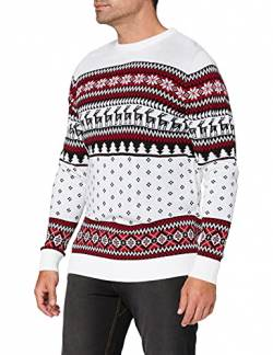 British Christmas Jumpers Herren Family Pack Classic Fairisle Mens Christmas Jumper Pullover, Weiß (White), Medium von British Christmas Jumpers