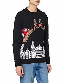 British Christmas Jumpers Herren London-Mens Christmas Jumper Pullover, Schwarz (Black), Large von British Christmas Jumpers