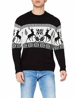 British Christmas Jumpers Herren Stag Fairisle Jumper Pullover, Schwarz (Black), Large von British Christmas Jumpers
