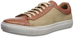 Brothers United Herren Leather Luxury Sophisticated Lace Up Sneaker Turnschuh, Hellbraunes Krokodil/Taupe Nubuk, 40 EU von Brothers United