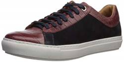 Brothers United Herren Leather Luxury Sophisticated Lace Up Sneaker Turnschuh, Rubinrot Krokodil/Navy Nubuk, 44 EU von Brothers United